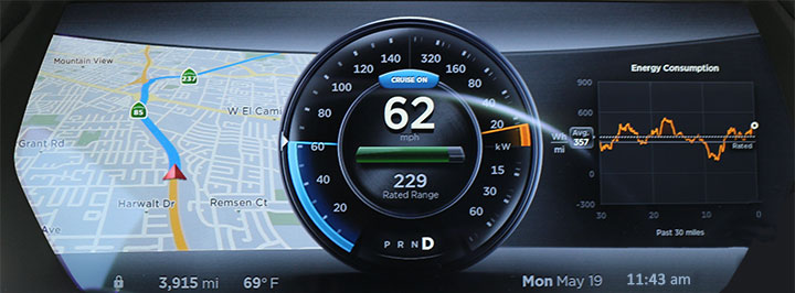 Version 6 instrument Panel, cruise control active and navigation map