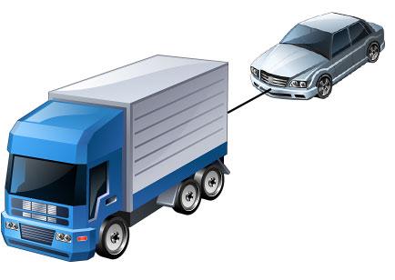 Truck pulling car