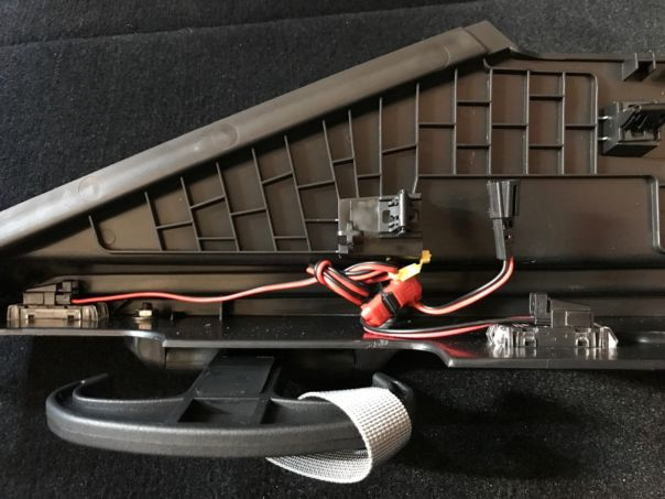 Back view of parcel shelf bracket with LED modules