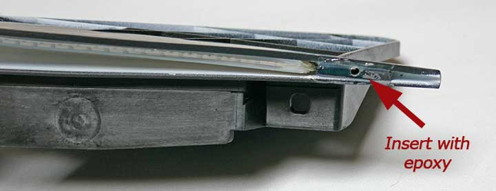 Closeup of one end with epoxied insert