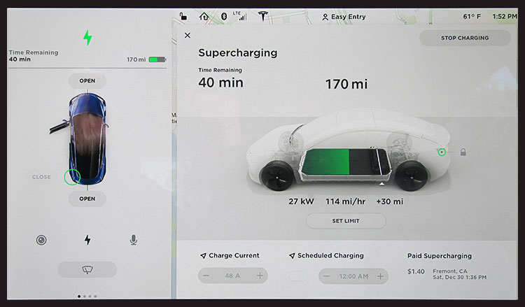 Model 3 with paid supercharging (bottom right)