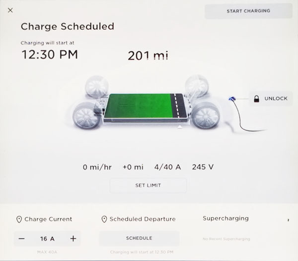 Vehicle Charge Settings